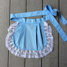 Small Blue Apron Children Fabric Apron Lace Ruffles Pretty