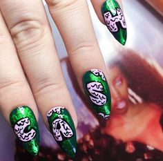 """1,162 Likes, 15 Comments - WAH Nails London (@wahnails) on Instagram: """"CASH ME OUSSIDE HOWBOW DAH?!  pink gunge font over green foil by WAH girl @kayleighjeana  email…"""""""