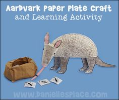 Aardvark Paper Plate Craft and Learning Activity from www.daniellesplace.com