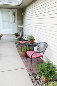 Happy At Home: tutorial How to Lay a Brick Patio.  Great idea for small seating area when you don't have a front porch.