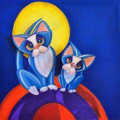 Art: Bobble Head Kitty: 3D (SOLD) by Artist Alma Lee