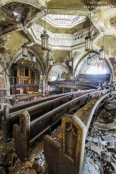 Abandoned Woodward Avenue Presbyterian Church, built in 1908, in Detroit, Michigan. Such beautiful woodwork list to time