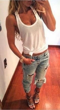 Cute & Casual outfits for summer 2016. I just wouldn't wear heels