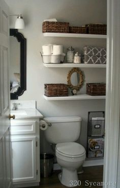 Extra shelves in bathroom help with no storage room
