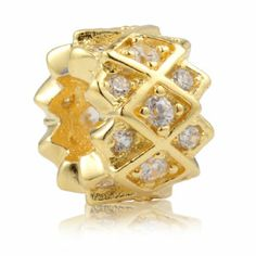 Golden Grid with Clear CZ 925 Sterling Silver Core Beads Decorative