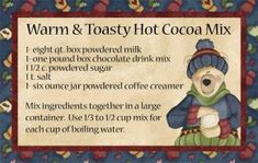 Free download and print recipe cards for hot cocoa mix.  Great for gifting!