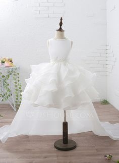 [AU$ 93.00] Empire Knee-length/Court Train/Detachable Flower Girl Dress - Organza/Satin Sleeveless Jewel With Ruffles/Beading/Appliques (010092954)
