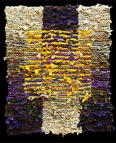 Floating Gold Square Rag Rug by karentiede -  Hand knit rug made from recycled t-shirts and other clothing