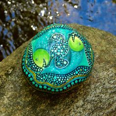 Pisces the Fish Stone / Zodiac Series / Hand Painted Stone / Horoscope Astrology Symbol / River Rock