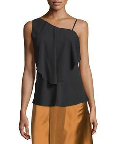 ELIZABETH AND JAMES RUBY DRAPED POPOVER TOP, BLACK. #elizabethandjames #cloth #