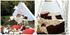 This pretty little glamping setup created by Kim at The Twice Remembered Cottage is perfect for a spot of tea and crumpets before an afternoon nap. After building a tent with crisp white blankets, she filled it with a cozy feather mattress, quilts, crocheted throws, and lots of luxe pillows.