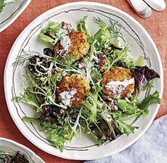 Mixed Greens with Fennel-Parmesan Fritters and Bacon-Buttermilk Dressing
