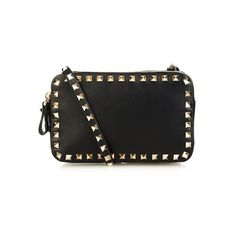 VALENTINO Rockstud leather cross-body bag ($1,495) ❤ liked on Polyvore