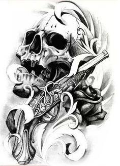 Временная татуировка большая черная череп и роза арт.SNS-58