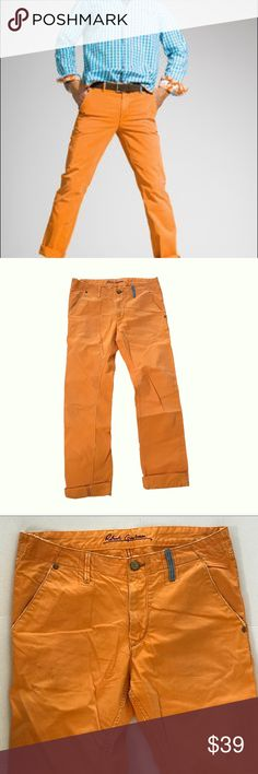 Robert Graham Orange Slim Jim Pants Size 33 Robert Graham Orange Slim Jim Pants Size 33  Fun meets fashion with these.  Good Condition Measurements Waist 33 Rise 10 Inseam 34 Leg opening 8 100% Cotton #V-68 Robert Graham Pants Chinos & Khakis