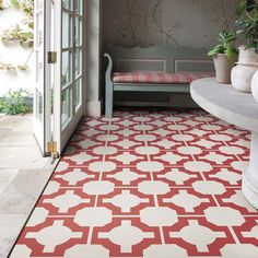 Red Designer Vinyl Floor In A Conservatory