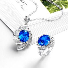 Arlumi 18K Platinum Gold Plated Zircon Sapphire Swirl Shaped Jewelry Set S046-C
