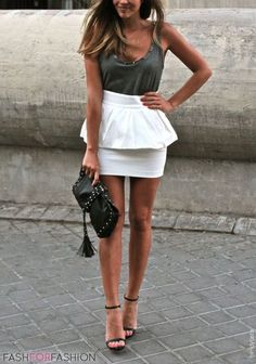 short white pencil skirt with green top