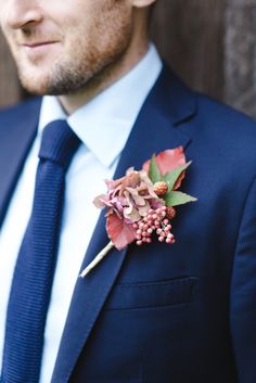 Leaf, berry and floral #boutonnieres | Photography: Weddings By Nicola And Glen - www.weddingsbynicolaandglen.com  Read More: http://www.stylemepretty.com/2014/07/25/english-manor-wedding-inspiration/