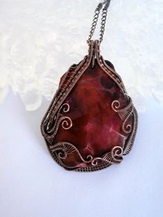 SOLD! Wire Wrapped Pendant Necklace Deep Red Fire Agate by PerfectlyTwisted