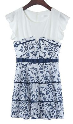 Blue and white floral print slim-fit dress