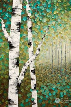Green forest landscape painting of aspen trees and birch trees giclee art print on canvas by contemporary abstract landscape artist painter Melissa McKinnon Abstract Landscape Painting, Acrylic Painting Canvas, Abstract Canvas, Landscape Art, Landscape Paintings, Tree Paintings, Diy Painting, Contemporary Landscape, Girl Paintings