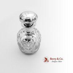 Floral Perfume Bottle Sterling Silver Glass Gorham 1890