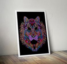 Lion Print Nursery Animal Kids room Modern art by JFStudioShop