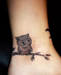 Owl ankle tattoo.