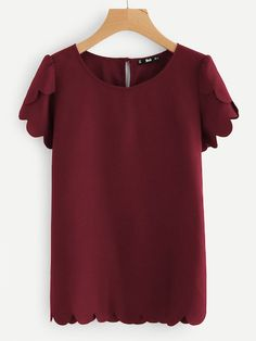 Casual Scallop and Button Plain Top Regular Fit Round Neck Short Sleeve Petal Sleeve Burgundy Tulip Sleeve Scallop Trim Keyhole Top Tulip Sleeve, Petal Sleeve, Plain Tops, Short Sleeve Blouse, Types Of Sleeves, Outfits For Teens, Summer Outfits, Tunic Tops, Casual