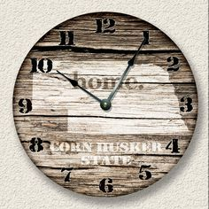 NEBRASKA Home State Wall CLOCK  - Barn Boards pattern  -  Corn Husker State - rustic cabin country wall home decor