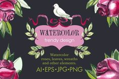 Watercolor romantic collection by Sofia on @creativemarket