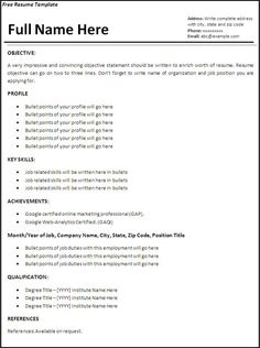 resume templates job resume template free word templates - Excellent Resume Example
