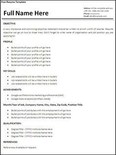 7981 Gambar Resume Career Termplate Free Terbaik Resume