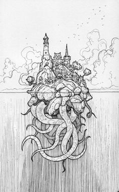 thisnorthernboy: Of secrets beneath the waves… My latest illustration for Inktober. Really enjoyed everything about drawing this. Roughly sketched in pencil before being inked with a Copic Multiliner and a Sakura Pigma Micron, in a Moleskine sketchbook. Art And Illustration, Ink Illustrations, Ink Drawings, Cool Drawings, Drawing Sketches, Sketching, Sketchbook Drawings, Drawing Ideas, Moleskine Sketchbook