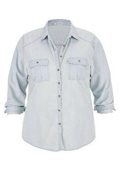 plus size denim button down boyfriend shirt in light wash (original price, $34) available at #Maurices