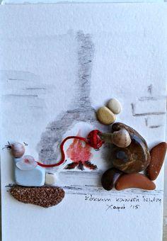 Tales near a fireplace pebble art by Hara