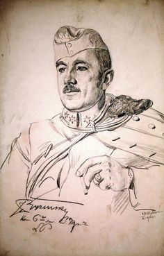 Por. Jan Janusz Pryziński, komendant 6. szwadronu 2. p.uł., rys. Wincenty Wodzinowski