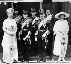 L-R: Queen Mary, Prince Henry, future King Edward VIII and later the Duke of Windsor, future King George VI, King George V, the Earl of Harewood, and Princess Mary the Countess of Harewood. And I think Viscount Lascelles is pictured far right. All these royals were visitors to Goldsborough Hall in the 1920s when Princess Mary and Viscount Lascelles lived there