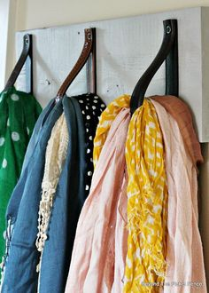 Closet Organization Ideas - DIY Scarf Hanger in 30 Minutes With Reclaimed Wood and Leather Belts at Beyond The Picket Fence Scarf Organization, Organization Ideas, Organizing Tips, Scarf Hanger, Towel Hanger, Scarf Storage, 30 Minutes Or Less, Ideas Para Organizar, Thrift Store Finds