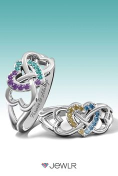 Looking for the perfect gift? Personalize the Triple Heart Infinity Ring in silver, white, yellow or rose gold with sparkling birthstones to represent loved ones. Add a custom engraving for an extra special touch. With free shipping, free resizing. free gift packaging and a  bonus gift, Jewlr is the perfect place to design your dream ring.