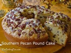 Southern Pecan Pound Cake Ingredients: Small amount of vegetable shortening and flour for preparing pan Batter: 1 cup pecan halves 1 tablespoon all-purpose flour 2¼ cups all-purpose flour 1 teaspoo...
