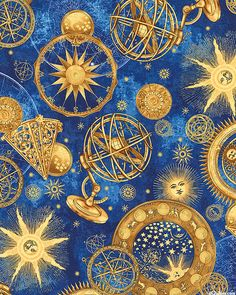 Boneful fabric fq cotton quilt navy blue gold vtg for Sun and moon fabric