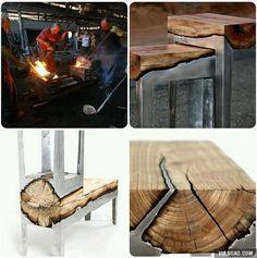 Vacían el acero directo a trozos de madera para estos muebles increíbles