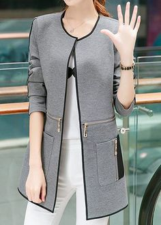 Grey Long Sleeve Collarless Open Front Cardigan Coat page Hijab Fashion, Fashion Dresses, Fashion Coat, Trendy Outfits, Fall Outfits, Coat Outfit, Coats For Women, Clothes For Women, Mode Mantel
