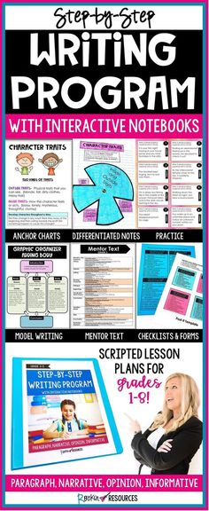 This STEP-BY-STEP WRITING® PROGRAM WITH INTERACTIVE NOTEBOOKS IS A COMPLETE WRITER'S WORKSHOP PROGRAM with all the tools needed for the entire year. It is filled with engaging lessons (scripted), anchor charts, modeling, mentor text, interactive notebook pages, practice, and all the forms, graphic organizers, checklists, and rubrics necessary to teach and assess writing.