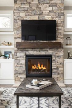 40 Best Fireplace Ideas – Indoor Fireplace Designs, Decor, and Photos - Modern Fireplace Mantel Decor, House Design, House, Fireplace Built Ins, Home Fireplace, Remodel, Fireplace Design, Indoor Fireplace, Fireplace