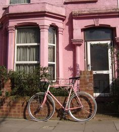 pink house and bike
