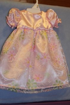 18 American Girl Doll Pink Satin with Sheer Flower by sewlucky42, $18.00