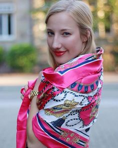 Pink Hermes wrapped around the shoulders Silk Neck Scarf, Kerchief, Bow Blouse, How To Wear Scarves, Vintage Scarf, Satin, Neck Scarves, Scarf Styles, Womens Scarves